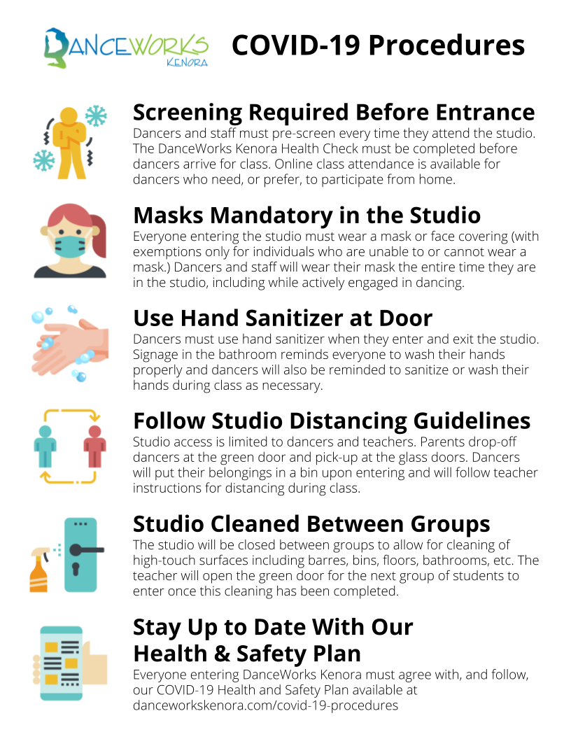 Poster of DanceWorks Kenora COVID-19 Procedures Screening Required Before Entrance, Masks Mandatory in the Studio, Use Hand Sanitizer at Door, Follow Studio Distancing Guidelines, Studio Cleaned Between Groups, Stay Up to Date with Our Health & Safety Plan