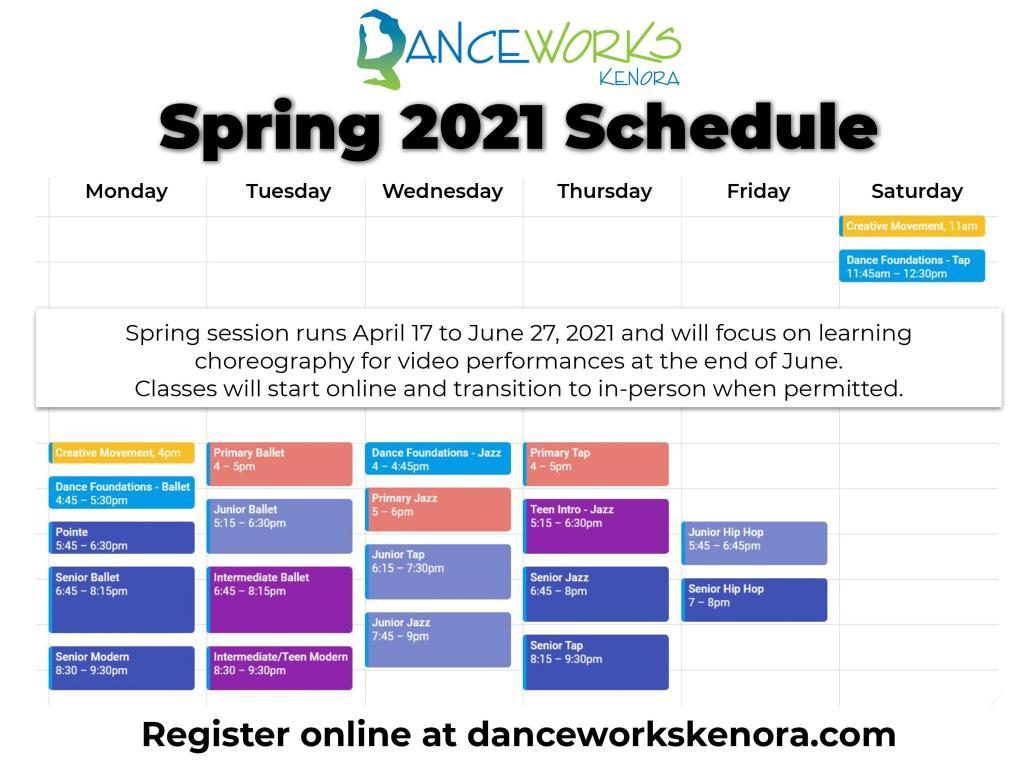 Calendar view of DanceWorks Kenora spring schedule of dance classes.